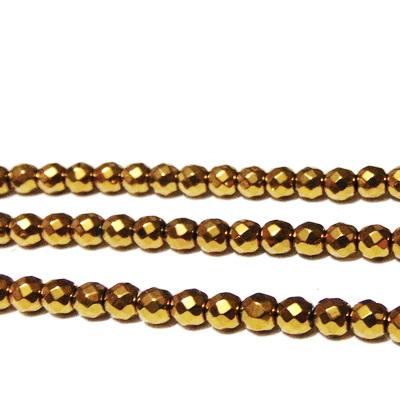 Margele hematite, aurii, multifete, 4x3.5mm 1 buc