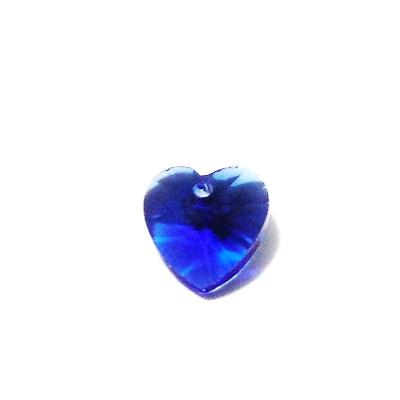 Pandantiv sticla, multifete, albastru, inima 10x10x5mm 1 buc