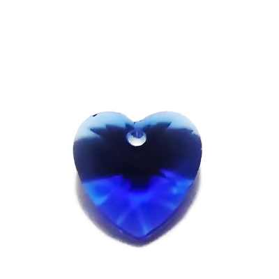 Pandantiv sticla, multifete, albastru-cobalt, inima 14x14x8mm 1 buc