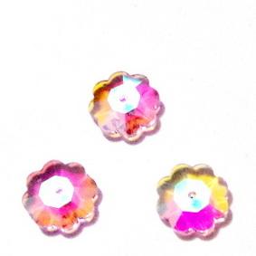 Margele sticla, roz, electroplacate AB, floare 10x3mm 1 buc