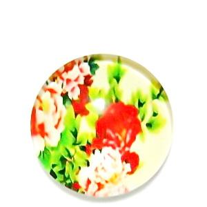 Cabochon sticla, cu flori, 20mm, model 8 1 buc