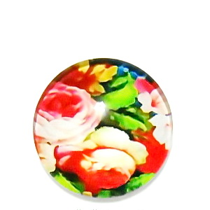 Cabochon sticla, cu flori, 20mm, model 13 1 buc