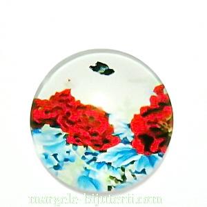 Cabochon sticla, cu flori, 20mm, model 14 1 buc