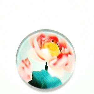 Cabochon sticla, cu flori, 20mm, model 15 1 buc