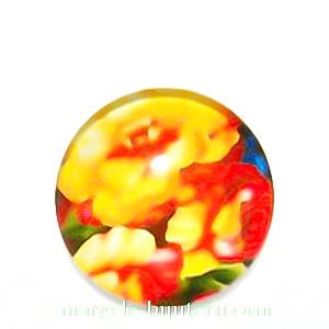 Cabochon sticla, cu flori, 20mm, model 21 1 buc