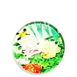 Cabochon sticla, cu flori, 20mm, model 23 1 buc