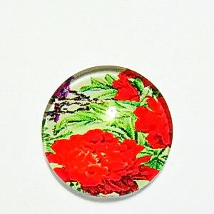 Cabochon sticla, cu flori, 20mm, model 29 1 buc