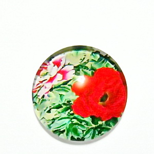 Cabochon sticla, cu flori, 20mm, model 30 1 buc