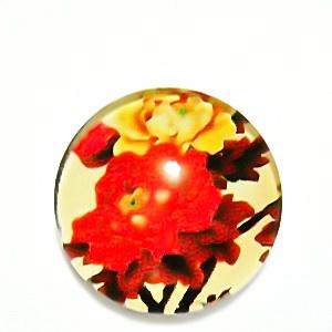 Cabochon sticla, cu flori, 20mm, model 35 1 buc