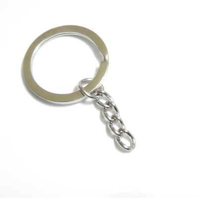 Accesoriu breloc, argintiu inchis, zala dubla, plata,  exterior 26mm 1 buc