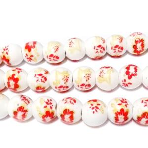 Margele portelan, albe cu rosu-auriu, 8mm 1 buc