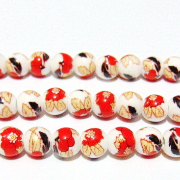 Margele portelan, albe cu rosu-auriu-negru, 9mm 1 buc