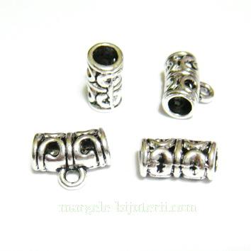 Agatatoare pandantiv, argint tibetan, 11x6mm, orificiu 3.5mm 1 buc