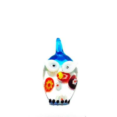 Pandantiv Murano, bleu-multicolor, bufnita, 28x20x7 mm 1 buc