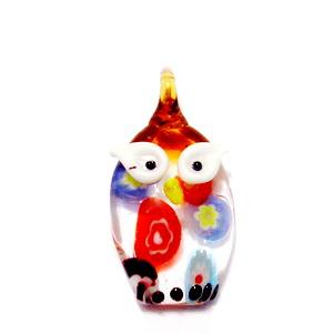 Pandantiv Murano, mov-multicolor, bufnita, 28x20x7 mm 1 buc