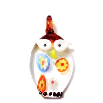 Pandantiv Murano, maro-multicolor, bufnita, 28x20x7 mm 1 buc