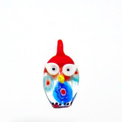 Pandantiv Murano, rosu-multicolor, bufnita, 28x20x7 mm 1 buc