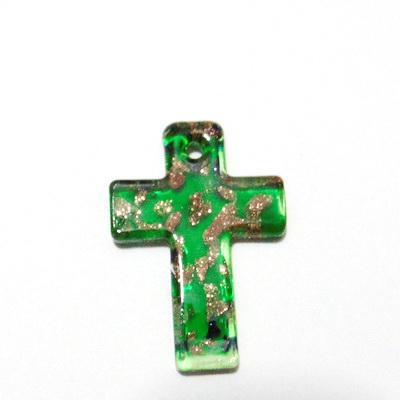 Pandantiv Murano verde, cruce 50x35x5mm 1 buc