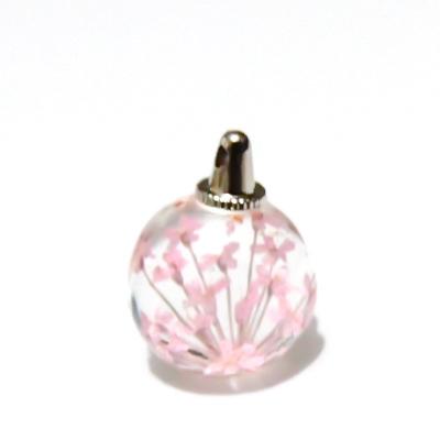 Pandantiv sticla, sferic, 20x15mm, interior floare roz 1 buc