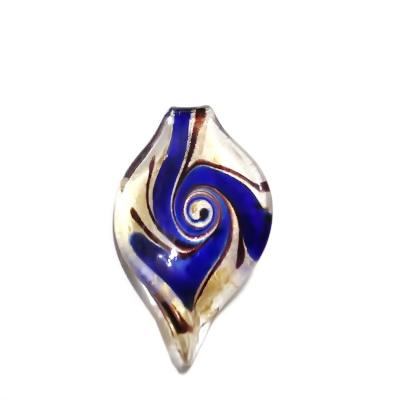 Pandantiv Murano, frunza, albastru cu auriu, 54x32x6mm 1 buc