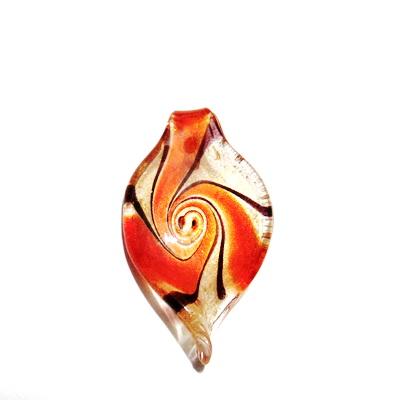 Pandantiv Murano, frunza, rosu cu auriu, 59x31x10mm 1 buc