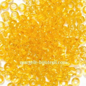 Margele nisip, Rocaille Preciosa 6/0-4mm, aurii, transparente 20 g