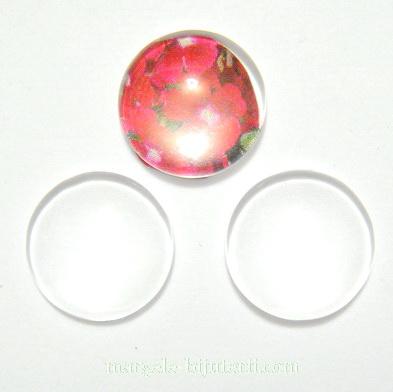 Cabochon sticla transparenta, 18x4~4.5mm 1 buc