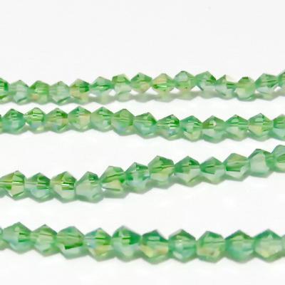 Margele sticla, biconice, verde deschis AB, 4mm 10 buc