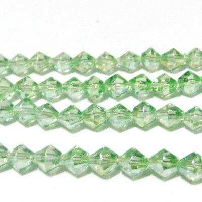 Margele sticla, biconice, verde deschis AB, 6mm 10 buc
