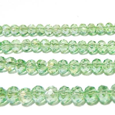 Margele sticla, rondel, verde deschis AB, 6x4mm 10 buc