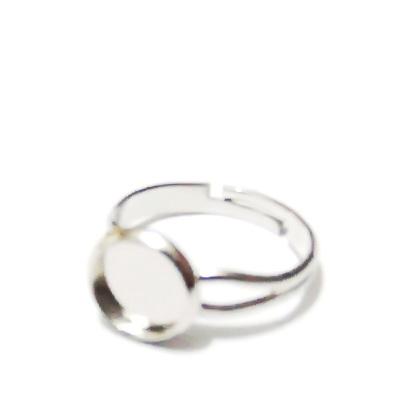 Baza inel, argintiu inchis, interior 18mm,baza cabochon 8mm 1 buc