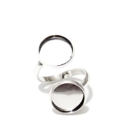 Baza inel, argintiu inchis, interior 18mm, 2 baze cabochon 12mm 1 buc