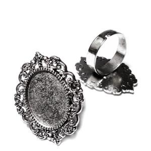Baza cabochon, argint tibetan, inel, platou 28x21mm, interior 18x13mm 1 buc