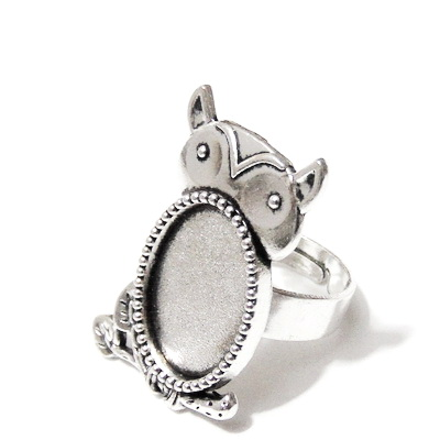 Baza cabochon, argint tibetan, inel, platou bufnita 32x18mm, interior 18x13mm 1 buc