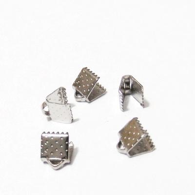 Capat prindere snur/ panglici, placat cu rodiu, 6x6 mm 10 buc
