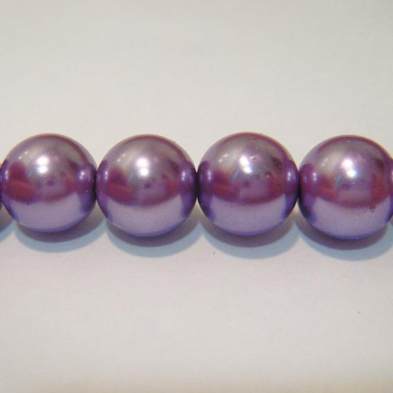 Perle sticla mov 12mm 10 buc