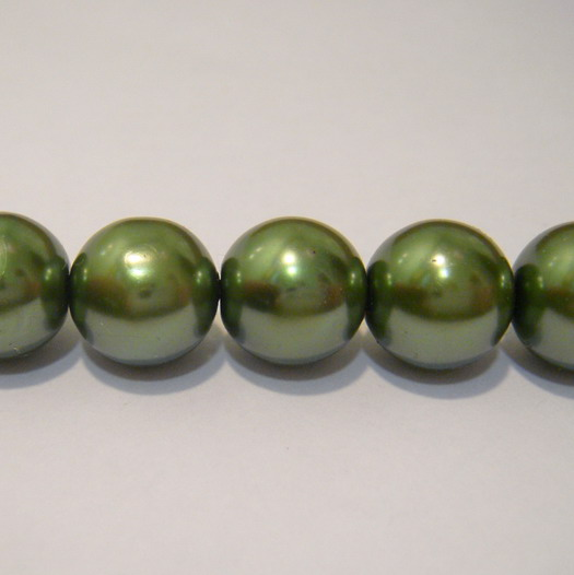 Perle sticla verde-inchis 12mm 10 buc