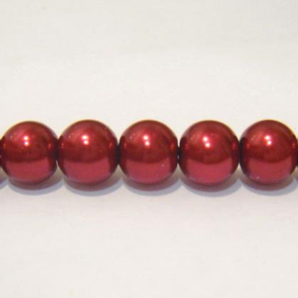 Perle sticla rosii-visinii 8mm 10 buc