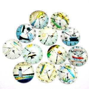 Cabochon sticla, 20mm, desen ceas, mix 5 1 buc