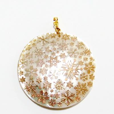 Pandantiv sidef cu stelute aurii, 54x3mm 1 buc