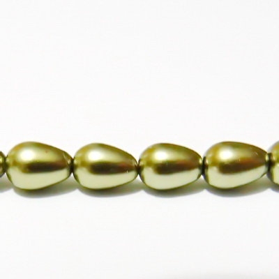 Perle sticla, kaky, lacrima 8x6mm 1 buc