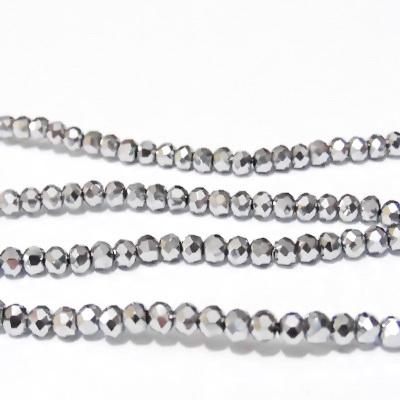 Margele sticla, multifete, rondel, placate argintiu, 3.5x3mm 10 buc