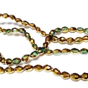 Margele sticla verzi, transparente cu auriu metalizat, ovale, 6x4mm 10 buc