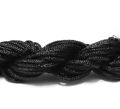 Snur matasos pentru bratari shamballa, negru, 2mm-scul aproximativ 12m 1 buc
