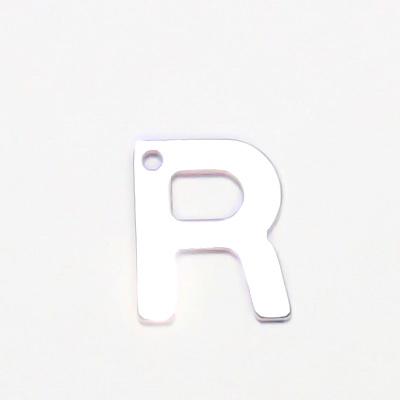 Pandantiv otel inoxidabil 304, litera R , 11x5.5x0.5mm 1 buc
