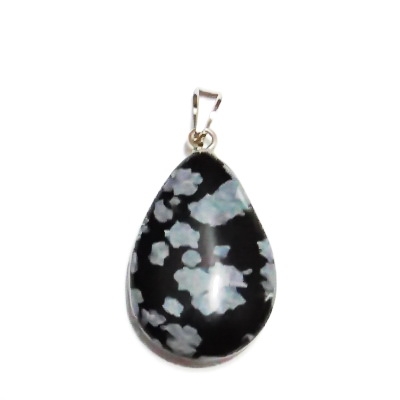 Pandantiv obsidian fulg de nea, lacrima 25~29x16~17x5~6mm, cu accesoriu 1 buc