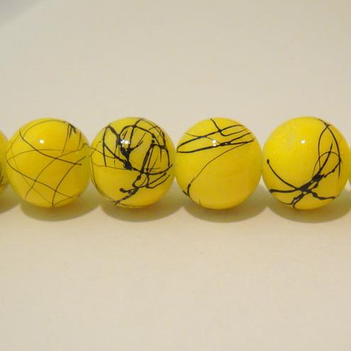 Margele sticla galbene decorate,12mm 1 buc