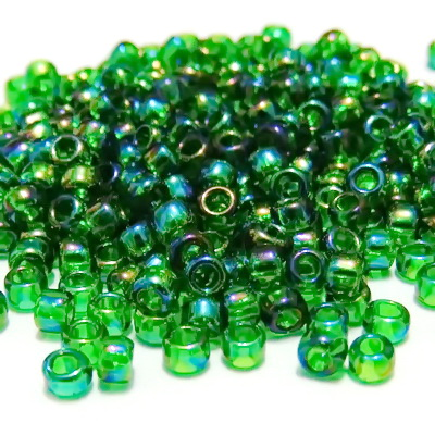 Margele TOHO rotunde 8/0 : Transparent-Rainbow Grass Green 20 g