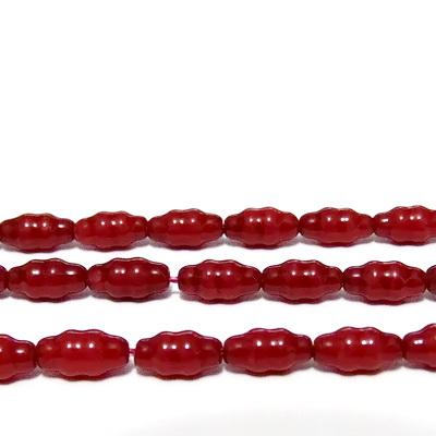 Margele sticla, rosii, imitatie coral, bob orez, 8x4mm 10 buc