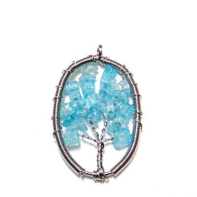 Pandantiv oval, cu chips cuart bleu, copacul vietii, 57x36x3.5mm 1 buc
